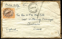 "Lot 1249:1928 (May 28) Gill correspondence address label adhered to parcel fragment to GB, endorsed ""Photos only/Value/5/-"", with 4d Bicolour cancelled with fine 'Samarai '24MAY28' datestamp. Scarce solo usage."
