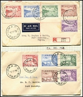 Lot 1424 [2 of 5]:Ioma Selection: with Lee Type #75 datestamp on large-part 1923 cover front addressed to UK, also on stamps x6 including in violet-blue (1918) or red x2 (1932 & 1933); Type #76 used on philatelic covers x3, 1935 with 3d Declaration imprint strip, 1938 registered with Declaration set or 1939 (FDI) with Air set to 1/-. (4 covers/fronts & 7 stamps) PO c.-/6/1905; closed 14/2/1942.