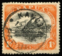 Lot 1256 [1 of 2]:Kanosia: large part strike of Lee Type #79 Kanosia '(?)OCT/08' on 2d Small 'Papua' with unusual second strike in pinkish-red, also complete 1911(?) strike on 1/- Large 'PAPUA'; Rated D (2) PO 17/10/1908; closed 2/6/1917.