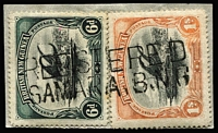 Lot 1257 [1 of 3]:Samarai: Selection including Lee Type #24 datestamp on BNG 1d, #25 Bars on BNG 2d x2, two-line 'REGISTERED/SAMARAI BNG' #26 (Rated D) x2 tying BNG 6d & 1/- to piece or across BNG 1d & 4d, Type #28 on BNG, etc. (15  items)