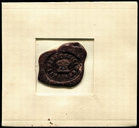 Lot 1439:Tamata: 'POST OFFICE/CROWN/TAMATA' impression in deep red wax, some minor cracking & small segment missing at right. Ex John Nicholson who believed the seal was discovered in a safe at Abau Distict Office around 1955.