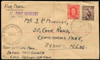 Lot 1261 [1 of 2]:1949 Port Moresby-Sydney (Oct 30) registered cover flown on first official post-war civilian airmail flight AAMC #P164a, fine condition, Cat $300.