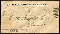 Lot 998:1895 (Dec 11) stampless printed envelope headed 'ON PUBLIC SERVICE' and inscribed 'Queensland International Exhibition/1896' at lower-left, 'PAID/ALL' circular handstamp, Brisbane 'DE11/95' duplex datestamp, signed by Jules Joubert (Exhibition Manager) at upper left, addressed locally; pinholes & somewhat aged. Rare, only the third recorded example.