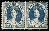 Lot 991:1880 Small Chalon Litho Wmk 2nd Crown/Q Perf 12 2/- blue SG #119 pair, large-part gum, Cat £320+. Rare mint multiple.
