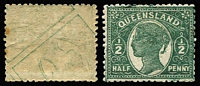Lot 859:1895-96 Void-Oval Wmk 2nd Crown/Q Perf 12½,13 ½d deep green variety Printed both sides SG #209a, minor tonespot on gum, fine mint, Cat £275.