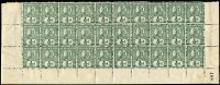 Lot 1024:1899-1906 Wmk 2nd Crown/Q Perf 12½,13 ½d grey-green marginal block of 30 (10x3) from base of the sheet, sheet no #408 at lower right, few perf reinforcements, most units MUH. Attractive block.