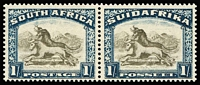 Lot 1518:1930-44 Pictorials 1/- brown & deep blue bilingual pair variety Twisted horn SG #48c, fine mint, Cat £350.