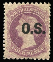 Lot 1008:1876-85 P10x11½-12½: 4d plum SG #O16, fine mint, Cat £70.