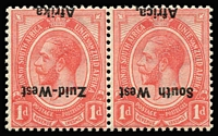 Lot 1533:1923 Overprints on South Africa KGV 1d rose-red KGV bilingual pair, variety Overprint inverted SG #2a, fine mint, Cat £500.