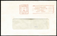 Lot 130:Rowing: 'AUSTRALIAN/CANOE TITLES/CAIRNS/MAY 1980' slogan datestamp in red on cover, superb strike, being the short-lived and extremely rare 'PAID' version, very few recorded, highly desirable for Rowing Thematic/Topical exhibit.