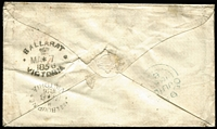 "Lot 901 [2 of 2]:1856 (May 7) cover to England sent per ""Mermaid"" with 6d Woodblock (shaved at left), paying ½oz ship letter rate, tied by BN '5', handstruck '5' in red, on reverse fine Ballarat Crown Oval & Melbourne oval datestamps, plus Oldham arrival backstamp, fine condition."