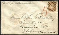 "Lot 901 [1 of 2]:1856 (May 7) cover to England sent per ""Mermaid"" with 6d Woodblock (shaved at left), paying ½oz ship letter rate, tied by BN '5', handstruck '5' in red, on reverse fine Ballarat Crown Oval & Melbourne oval datestamps, plus Oldham arrival backstamp, fine condition."