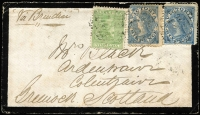 Lot 1293:1871 (Jan 2) mourning cover from Wedderburn to Scotland at the short-lived 1/1d rate via Brindisi, flap and stamp damage is reflected in estimate.