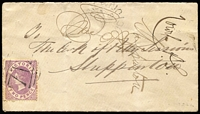 Lot 1127 [1 of 2]:1872 cover to Shepparton (backstamp) with 2d Bell tied by fair strike of BN '712' with a weak strike of unframed Nagambie 'SE27/78' (day slugs inverted) datestamp above.
