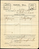 Lot 1128 [2 of 4]:1892 selection of Parcel Bill forms from Wycheproof x4 (one 'Belt & Buckle' double-oval datestamp) to Birchip, Bungeeluke North, Narraport or Towaninnie, all with appropriate unframed arrival datestamps. (4)