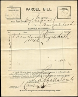 Lot 1128 [3 of 4]:1892 selection of Parcel Bill forms from Wycheproof x4 (one 'Belt & Buckle' double-oval datestamp) to Birchip, Bungeeluke North, Narraport or Towaninnie, all with appropriate unframed arrival datestamps. (4)