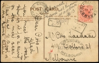 Lot 1240 [2 of 8]:1899-1911 unclaimed mail selection comprising Ballarat, Brighton, Hawthorn, Kew, Melbourne, North Melbourne, St Kilda, South Melbourne, two are registered, odd fault. (8)