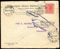 Lot 1240 [3 of 8]:1899-1911 unclaimed mail selection comprising Ballarat, Brighton, Hawthorn, Kew, Melbourne, North Melbourne, St Kilda, South Melbourne, two are registered, odd fault. (8)