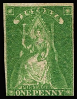 Lot 1148:1856 Imperf Queen-On-Throne Wmk Large Star 1d yellow-green SG #40, just shaved at base otherwise complete margins, strong colour, unused, Cat £300.