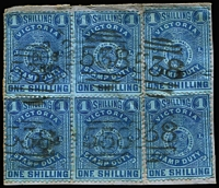 Lot 1156:1884-96 Stamp Duty Typo 1st V/Crown 1/- bright blue/blue P12½ SG #256c block of 4 plus two singles on piece, cancelled with multiple strikes of BN '538' of Carlton. Nice item.