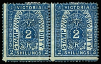 Lot 1098:1884-96 Stamp Duty Typo 1st V/Crown 2/- deep blue/green P12½ SG #258b mint pair, out-of-register, mild crease left hand unit, dealer/guarantee handstamps on reverse. large-part original gum. Cat £700+. Rare multiple.