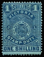 Lot 1155:1884-96 Stamp Duty Typo 1st V/Crown 1/- deep blue/blue P12½ SG #256b, large-part original gum (mild toning), Cat £200.