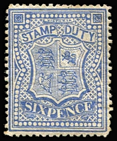 Lot 1157 [2 of 2]:1884-96 Stamp Duty Typo 2nd V/Crown 6d ultramarine P12 x2 (shades) SG #266a, dull shade (slight aging) with mild gum crease, large-part gum, Cat £340. (2)