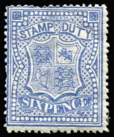 Lot 1157 [1 of 2]:1884-96 Stamp Duty Typo 2nd V/Crown 6d ultramarine P12 x2 (shades) SG #266a, dull shade (slight aging) with mild gum crease, large-part gum, Cat £340. (2)