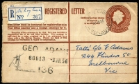 Lot 1370 [1 of 2]:McKay Creek: (A/B1) use on 1956 (Jun 30) QEII 1/0½d Registration Envelope from McKay Creek to Melbourne, with good (on front) to fine (on reverse) strikes of 'McKAY CREEK/30JE56' datestamp WWW #10 [Rated 3R], manuscript provisional registration label. Office open for 6 years only.  PO 20/6/1955; closed 5/6/1961.