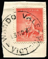 Lot 877:Wando Vale: (A2) almost complete WWW #20 '13NO37' datestamp tying 2d KGVI to piece.  PO 29/3/1901; closed 31/1/1957.