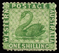 Lot 1168:1864-79 Wmk Crown/CC (Sideways) Perf 12½ 1/- bright green SG #61, strong colour, part gum, Cat £250.