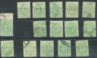 Lot 747 [2 of 6]:1902-04 Design Completed Wmk Crown/NSW with 2d (P11x11½-12), 3d, 5d x2 (one mint), 10d x6, 1/- x3 & 2/- x3 BW #D14-D20, mostly fine, Cat $700+. (16)