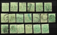 Lot 824 [3 of 4]:1902-04 Design Completed Wmk Crown/NSW Compound Perf Selection with mint ½d x3, 3d (no gum), 4d x2 (one Watermark inverted) & 6d; duplicated used including 4d x5, 5d x2, 8d, 10d, 1/- x4, 2/- x3, 5/- x4, some stamps Watermark inverted; mostly fine, Cat $1,000+. (41)