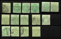 Lot 928 [2 of 2]:1902-09 Selection with 1902-04 Completed Design P11 1d & 6d x4, 1906-08 Crown/A ½d x2 mint & x3 used, 4d & 6d, 1908-09 With Stroke 1/- x3 & 5/- x2, Cat $500+. (16)