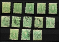 Lot 822 [3 of 3]:1902 Blank At Base Selection with mint ½d x2, 2d, 3d (toning) & 6d; used ½d x2, 1d x3, 2d x3, 3d, 4d, 6d x2, 8d & 5/-, several Watermark inverted including 2d, generally fine, Cat $800+. (19)