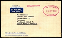 Lot 378 [2 of 5]:1940s-90s Postage Paid & Official Mail Covers including 1958 1/2d Postage Paid Meter paying airmail rate on PPC to Netherlands, 1959 Australian Equitable Insurance 2/3½d meter cover to Germany, 1961 PMG's Dept Official Paid airmail to Germany, few unused & Australian Territories items. Interesting mix. (26)
