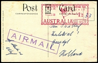 Lot 378 [1 of 5]:1940s-90s Postage Paid & Official Mail Covers including 1958 1/2d Postage Paid Meter paying airmail rate on PPC to Netherlands, 1959 Australian Equitable Insurance 2/3½d meter cover to Germany, 1961 PMG's Dept Official Paid airmail to Germany, few unused & Australian Territories items. Interesting mix. (26)