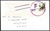 Lot 277 [3 of 6]:1980s Use of Large Circular 'F/No' Handstamp as canceller on three covers accompanied by Post Office letter explaining that it was used to signify the last bag of a clearance being despatched to the Melbourne Mail Centre and was not intended to be used as a letter canceller; also two covers with parallel line cancels used on mail which for some reason had not been cancelled by cancelling machines, plus one other item. (6)
