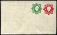 Lot 778 [2 of 4]:1918-19 1d Red KGV Star + ½d Green KGV Star BW #EP15 selection with unused example, 1920 used tied by very fine Hawker (SA) squared-circle datestamps, plus 1937 late usages x6, all uprated with ½d orange KGV and tied by Melbourne or Sydney slogan cancels; mostly fine. (7)
