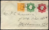 Lot 778 [3 of 4]:1918-19 1d Red KGV Star + ½d Green KGV Star BW #EP15 selection with unused example, 1920 used tied by very fine Hawker (SA) squared-circle datestamps, plus 1937 late usages x6, all uprated with ½d orange KGV and tied by Melbourne or Sydney slogan cancels; mostly fine. (7)