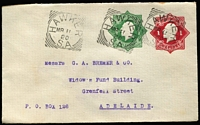 Lot 778 [1 of 4]:1918-19 1d Red KGV Star + ½d Green KGV Star BW #EP15 selection with unused example, 1920 used tied by very fine Hawker (SA) squared-circle datestamps, plus 1937 late usages x6, all uprated with ½d orange KGV and tied by Melbourne or Sydney slogan cancels; mostly fine. (7)