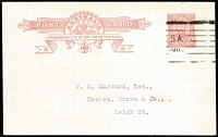Lot 762:1911 1d Red KGV Fullface with variety Double strike of 'TRA' and portions of admonition BW #P1(1)g, printed notice on reverse for Commonwealth Club of Adelaide, fine postally used, Cat $400. Scarce!