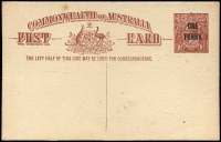 Lot 558:1923 'ONE/PENNY' On 1½d Red-Brown KGV Sideface Obsolete Stock footnote removed BW #P58, some faint spots, fine overall, unused, Cat $750.