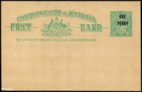 Lot 804:1923 'ONE/PENNY' on 1½d Emerald-Green KGV Sideface Obsolete Stock footnote removed BW #P59, mild uniform toning, unused, Cat $750.