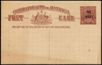 Lot 835:1923 'ONE/PENNY' on 1½d Red-Brown KGV Sideface Obsolete Stock footnote removed, BW #P58, unused, mild toning, Cat $750.