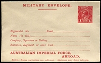 Lot 915:1917-19 1d Red KGV Sideface 'AUSTRALIAN IMPERIAL FORCE,/ABROAD.' At the Base Military Envelope, setting 1 – top of stamp level with letters, on laid paper, BW #ME5A, pinhole in unsealed flap, fine unused, Cat $300.