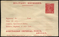 Lot 947:1917-19 1d Red KGV Sideface 'AUSTRALIAN IMPERIAL FORCE,/ABROAD.' At the Base on off-white to cream laid paper BW #ME5A, unsealed flap, fine unused, Cat $300.