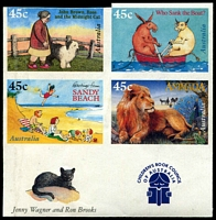 Lot 223:1996 45c Children's Book Council Imperforate se-tenant marginal block of 4 BW #1980b, margin shaved on upper edge of upper-left unit, sheet edge inscription & illustration, some paper adhesion on gum, Cat $2,000+.