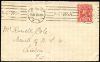 Lot 626:1d Carmine-Red BW #59 solo franking tied by Melbourne '11JUL14' machine cancel to inter-bank cover, Cat $300 on cover, few upper edge faults.