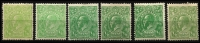 Lot 164 [3 of 4]:½d Mint Selection with Single Wmk ½d green x6 including White dash in right side of left value tablet BW #63(1)h (toning) & Barb on fraction bar at right #63(4)q; LMult ½d green x6 (shades); ½d orange Single Wmk x2 (one Watermark inverted), SMult P13½x12½ and a CofA Ash Imprint block BW #69(8)z. (16 items)